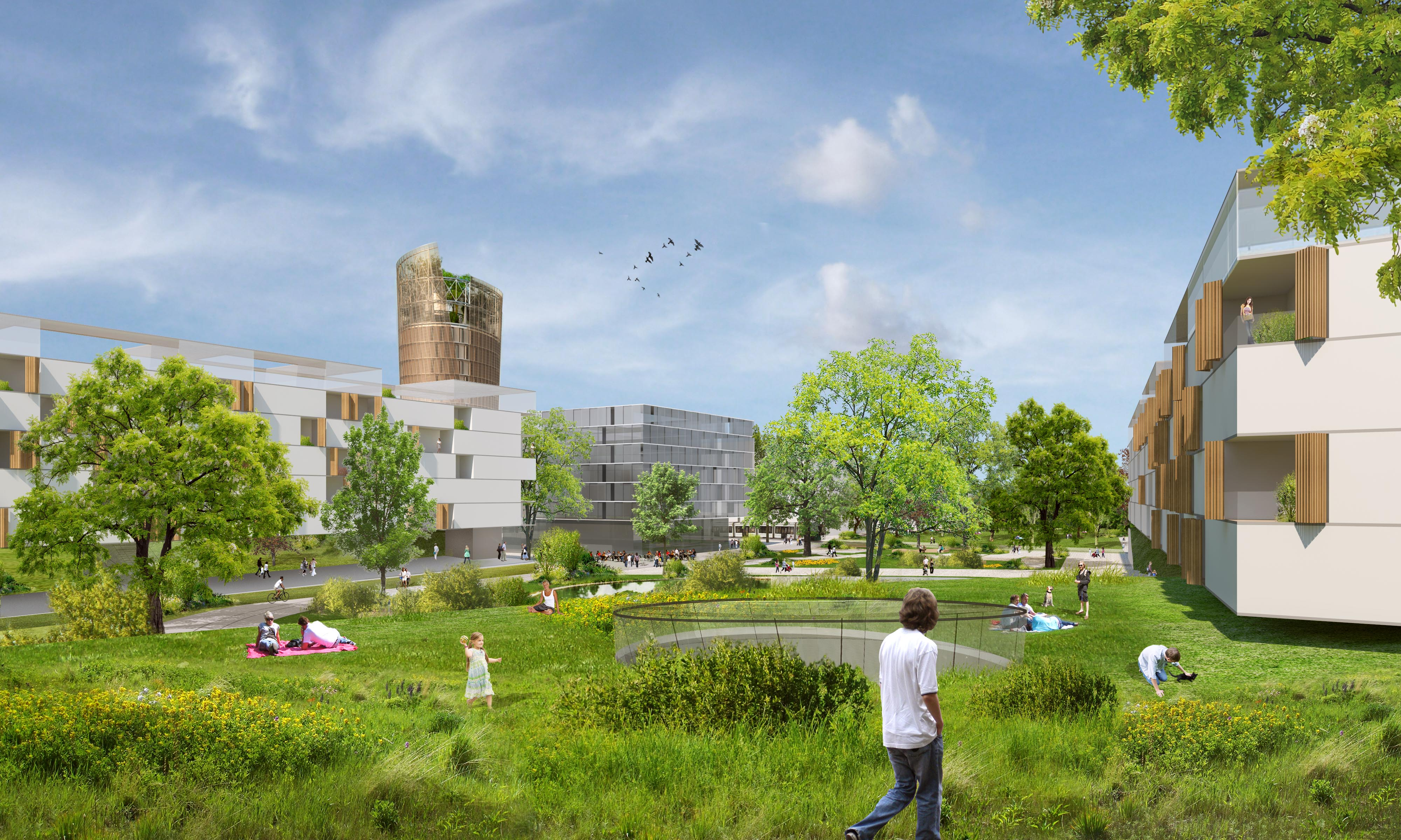 Künftige Smart City Graz mit Science Tower im Hintergrund
